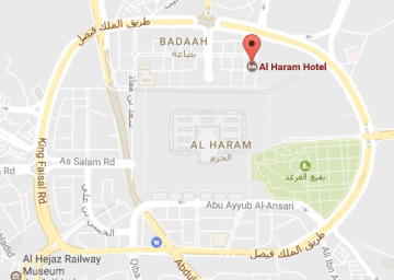 Lokasi Al Haram, di pojok kanan masjid